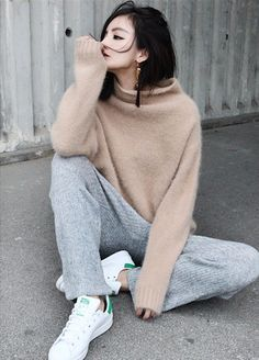 neutral knit, sweatpants & sneakers #style #fashion #adidas