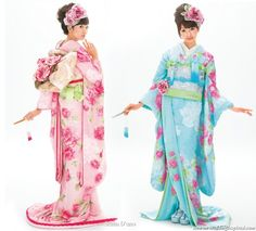 Lovely kawaii pink and light blue Japanese kimono
