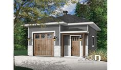 Discover the plan 3996 - Passat from the Drummond House Plans garage collection. One-car garage plan, modern style, ceiling, with storage area or workshop space. Total living area of 448 sqft. Backyard Guest Houses, Plan Garage, Design Garage, Drummond House Plans, Loft Room, Custom Home Designs, New Home Builders, Cottage, Outdoor Structures