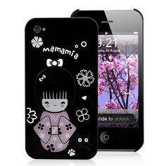Cute Mamamia Girl Pattern Hard Case For iPhone 4S - Black