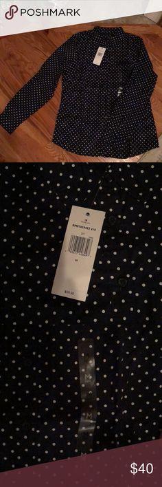 NWT Tommy Hilfiger Button Down Shirt Brand new black and white polka dot Tommy Hilfiger button down shirt. Tommy Hilfiger Tops Button Down Shirts