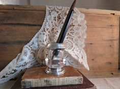 Antique Sterling Silver and Glass Toothpick Holder/ by WrensAttic