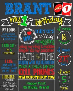 UNO First Birthday Chalkboard Poster // Boy by PersonalizedChalk