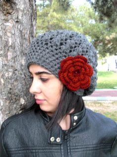 Sombrero mujer ganchillo sombrero Slouchy sombrero por Ebruk Boinas 47813c5adc7