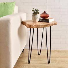 Cèdre bois souche grand fin côté Surface rustique Table avec 3-Leg métal Stand HW950-540
