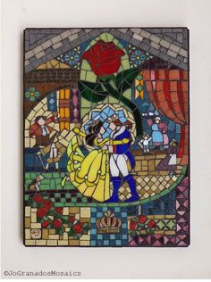 Beauty and the Beast Mosaic Wall Art inspired by the 1991 Disney Movie Stained glass window (12 x 16 inches). Made with vitreous glass tiles, stained glass, broken china and a nail on a wood panel.  #JoGranadosMosaics #JohannaGranados #GlassMosaics #BeautyAndTheBeast