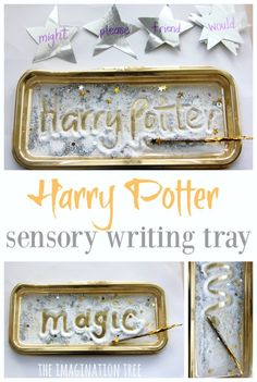 Create a Harry Potter sensory writing tray to practise spellings, sight words and letter learning in a fun, tactile and magical way for kids of all ages! Harry Potter Classroom, Harry Potter Theme, Harry Potter Diy, Spelling Activities, Literacy Activities, Activities For Kids, Indoor Activities, Colour Activities, Spelling Games