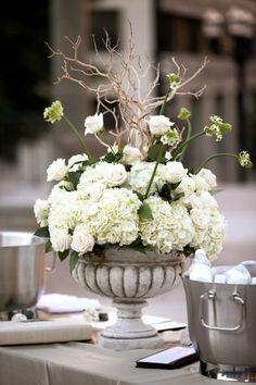 hydrangea and branches centerpieces | Classic Nashville War Memorial Wedding