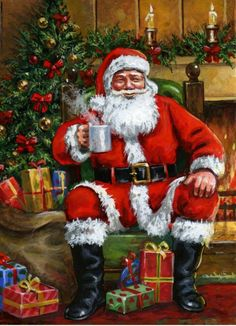 Santa by Jim Mitchell Old Time Christmas, Old Fashioned Christmas, Christmas Scenes, Christmas Drinks, Merry Little Christmas, Father Christmas, Santa Christmas, Christmas Images, Vintage Christmas