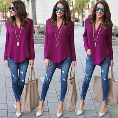 Women Jeans Outfit Casual Blazer Outfits Female Cute Cheap Clothes Polly Clothing Blue Cargo Trousers Purple Trousers Mens Jeans And Heels Outfit – gardeniarlily Look Fashion, Fashion Outfits, Womens Fashion, Look Legging, Blazer Outfits Casual, Everyday Casual Outfits, Casual Shirt, Mode Jeans, Chiffon Shirt