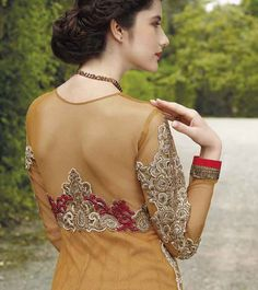 Blush with this Dazzling Brown Gown Anarkali