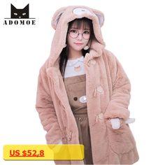Women Winter Cartoon Coats Japanese Kawaii HARAJUKU Flannel Kawaii Sweet Bear Brown Hoodies Soft Sister Girls Cute Overcoat