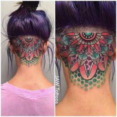 Mandala tattoo JessicaAnnWhite mandala nape neotraditional illustrative mandalatattoo