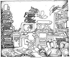 I included this comic-style image in this Pin Board because it is a detailed depiction of the today's information age. The man in the photo is experiencing the demands of the information age. The different technological machines are present, as well as an overwhelming about of books and papers. There is so much information in those books and paper stacks there they are falling over. This can be viewed as a metaphor for the overload of the information age.