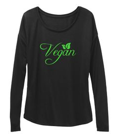 Vegan Black Long Sleeve T-Shirt Front. BELLA+CANVAS Flowy Tee. classic vegan long sleeve shirt for women, vegan winter long sleeve shirt for women, vegan plant long sleeve shirt for women, vegan animal rights long sleeve shirt for women, vegan power long sleeve tshirt for women, vegan tshirt for women, vegan cats long tsleeve shirt for women, vegan love long sleeve tshirt for women, vegan original long sleeve shirt for women, vegan peta long sleeve tshirt. Available in XS, small, medium…