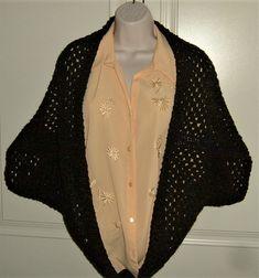 crocheted lady's shrug ( ref - Folksy Shrugs And Boleros, Yarn Colors, Crochet Designs, Hand Crochet, Kimono Top, Gifts For Her, Blazer, Lady, December