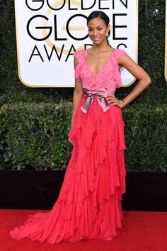 Zoe Saldana in Gucci at 2017 Golden Globe Awards in Beverly Hills