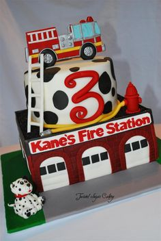 - Fire truck theme birthday cake.  All decorations are fondant.