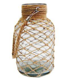 7.5'' Round Glass Jar with Woven Rope #zulily #zulilyfinds