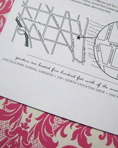 """Custom wedding map, $2.25 each. Rather than leaving your guests to find your wedding location on their own, send each of them one of these hand-drawn maps. Simply choose a 5x5"""" or 5x7"""" style, pick a border (eyelet-cut or clean) and provide your directions. Your guests will appreciate the extra effort and attention to detail. Don't forget to keep one for yourself! Shop This Etsy Crafter See More Like This"""