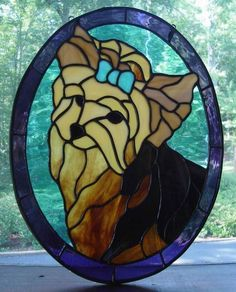 Yorkie - stained glass.  Completed this for some special friends who own a dog grooming business.