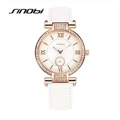 SINOBI Fashion Women Watches Leather Strap Roman Numerals Index Rose Gold Diamond Wristwatch White >>> Click image for more details.Note:It is affiliate link to Amazon. #likealways