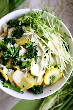 Rice Millet Bowl with Broccolini, Yellow Squash and Garlic Tahini Sauce