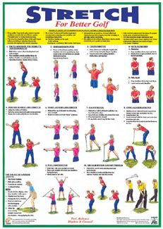 STRETCHING FOR GOLF Instructional Fitness Wall Chart Poster -Available at www.sportsposterwarehouse.com