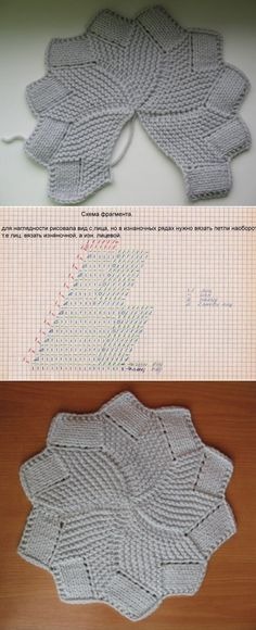 """6-wedge, 12-point Swirling Star knitted short-row coaster (washcloth, potholder). Complete step-by-step photo tutorial. The symbol key in the chart for the """"fragments"""" or wedges is in Russian but easy enough to guess."""