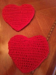 Heart CoastersSet of 2 Crocheted by SilverFoxxTreasures on Etsy, $10.00