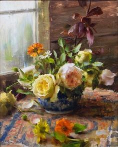 Drawing Flowers, Oil Painting Flowers, Daniel Keys, Rose Paintings, Still Life Oil Painting, Keys Art, Daily Painters, Flower Art, Masters