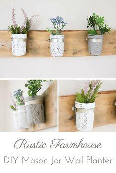 DIY Rustic Farmhouse Mason Jar Planter   www.makingitinthe...