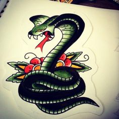 Doc Forbes repaint. 2013 #traditionaltattoo #traditionaltattooflash #repaint #oldschool #cobra #snake #tatuajetradicional #tatuajes #tradicionales #tarragona #flash