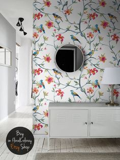 Spring Removable Wallpaper Birds And Flowers Wall Mural Watercolor Painting