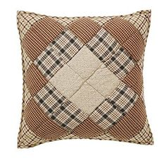 """Add our Barrington Quilted Pillow 16"""" Filled to our Barrington quilted bedding or buy them to add color an interest to your couch in your living space. https://www.primitivestarquiltshop.com/products/barrington-quilted-pillow-10x10 #primitivecountrybedroomsbeddingandaccessories"""