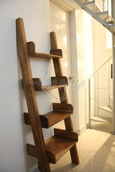 natural wood, ladder bookcase.  Love the warmth, the texture, and the simplicity.  http://leoque.com/gallery/wp-content/uploads/2009/02/leoque-shelves-ladder-natural.jpg
