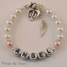 infant+loss+charms | Baby Loss Miscarriage Angel Baby Memorial Bracelet Personalised