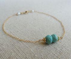 Delicate Birthstone Bracelet Turquoise Beads & by BriguysGirls, $27.50