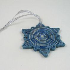 Frosty Blue Swirl Snowflake polymer clay by PaisleyLizardDesigns