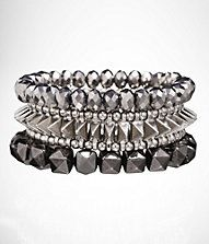 THREE ROW FACETED AND PYRAMID STRETCH BRACELET SET