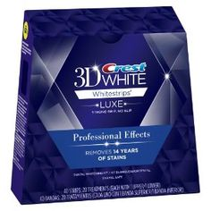 Crest 3D White Strips - Professional Effects - These whiten my teeth with one use! The Luxe strips stick to your teeth great!