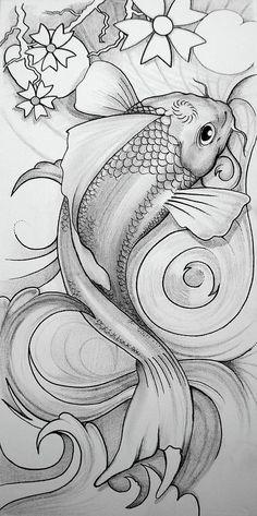 Stunning 'Koi Fish' Drawings And Illustrations For Sale On Fine Art Prints Koi Fish Drawing, Koi Fish Tattoo, Fish Drawings, Art Drawings, Carp Tattoo, Koi Tattoo Design, Koi Art, Fish Art, Tattoo Painting