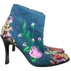 Preowned Gianmarco Lorenzi Denim W/ Floral Paint & Multi Color Python... ($500) ❤ liked on Polyvore featuring shoes, multiple, pink shoes, snake skin shoes, floral print shoes, floral shoes and pink floral shoes