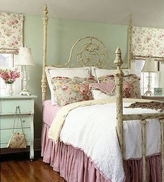 cozy bedroom in pale greens and pinks