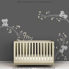 Nursery with grey walls and koala wall decal- maybe Snugglpot Cuddlepie & Blinky Bill could be the theme!