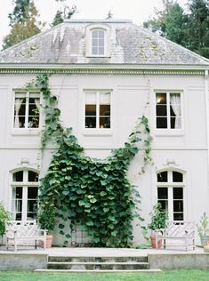 Bloedelle Reserve - gorgeous French style white home. Love the French doors with a transom - November 02 2019 at Outdoor Spaces, Outdoor Living, Outdoor Decor, Future House, My House, Fresco, Architecture Classique, Interior And Exterior, Interior Design