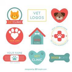 Retro veterinária logos clínica Vetor grátis