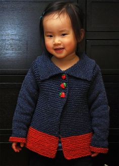 Free Knitting Pattern for Sawtelle Cardigan - #ad Easy sweater pattern for child sizes 2-12 knit in garter stitch and seamed only at shoulders. Designed by Amanda Keep Williams. Free with registration at Annie's. Pictured project by jennyishi
