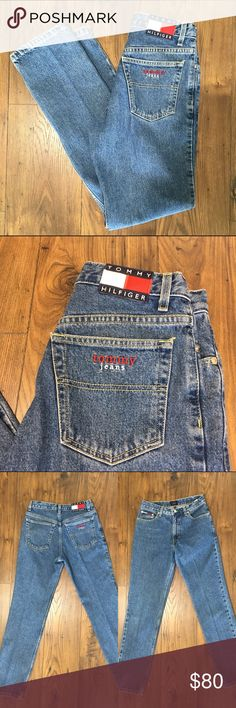 """TOMMY HILFIGER Vintage 90s Spellout Jeans 🔥MINT🔥 * Rad Tommy Hilfiger classic logo  * Perfectly faded & distressed * High waist * Straight leg * 100% Cotton--no stretch  + Details +  Condition: Gently worn. Excellent condition!  Material: 100% Cotton   + Measurements +  Waist: 28"""" (no stretch!)  Hips: 37"""" Inseam: 32"""" Rise: 10.5"""" Tommy Hilfiger Jeans Straight Leg"""