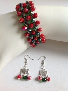 pulsera tejida en muranos checos aretes semi largos diseño de color beads
